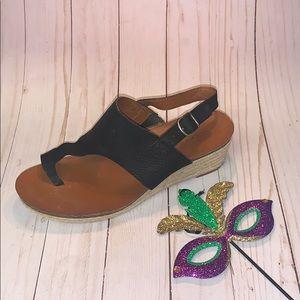 Lucky Brand Black Wedge Sandal Sz 7.5